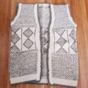 Vintage Wool Cream & Gray Handknit Sweater Vest XL